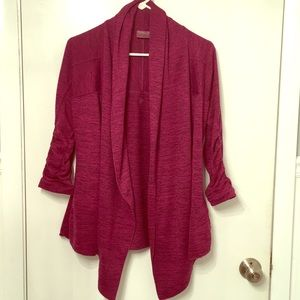 Athleta swing sweater crop sleeve plum purple EUC
